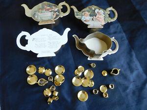 1983 lot of 2 Shackman miniature mini DOLL HOUSE TEA SET pot containers GOLD Plt