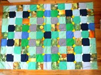 Vintage Patchwork Quilt Polyester throw blanket 44x61 70s style blue green