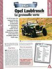 Opel Laubfrosch 1924 GERMANY DEUTSCHLAND ALLEMAGNE Car Auto FICHE FRANCE