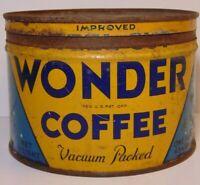 Vintage 1950s WONDER COFFEE GRAPHIC KEYWIND COFFEE TIN ONE POUND HOUSTON TEXAS
