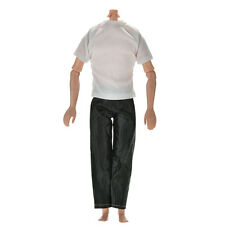 "2Pcs Handmade Leisure Black Pants White T Shirt for 11""  s Ken Doll Cute"
