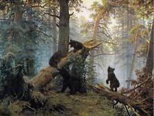 Ivan chichkine matin en forêt de pins chichkine ivan old art painting print 1395OM