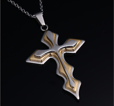 Unisex Men Stainless Steel Cross Golden Silver Pendant Necklace Chain Jewelry
