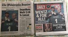 Philadelphia Eagles Carson Wentz Rookie Draft Newspaper Lot. Daily News/Inquirer