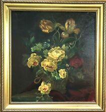 Antique (19 C) Oil Painting-Still Life Floral/Peonies-Listed Artist-Nice Detail
