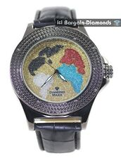 black diamond men's world map watch white blue red gold ice out master maxx