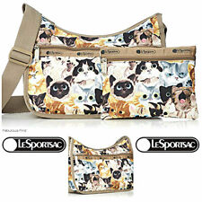 LeSportsac Cat Cafe Bene Classic Hobo Crossbody Bag + Cosmetic Bag Free Ship NWT