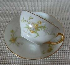 LIMOGES FRANCE China TEA CUP & SAUCER Pattern LIM48 Yellow Roses Antique