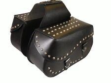 Motorrad Leder Satteltaschen mit Nietenverziehrungen Chopper Cruiser ST06