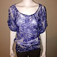 INC International Concepts Silk Top Size 6 Womens Tie Dye Chiffon Blouse Tee