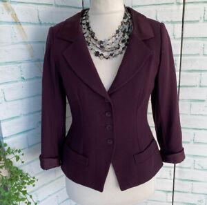 PADDY CAMPBELL Purple 100% Wool & Silk Ladies Fitted Smart Jacket Sz 12 UK MOTB
