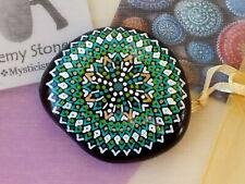 Hand Painted Alchemy Amplification Stone w. Green, Gold & White Compass Mandala