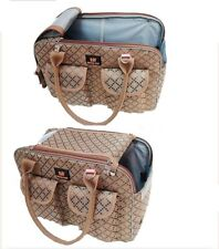 """Do Do Pet Carrier Purse Bag Tote, 16""""x11""""x7"""", Beige/Brown, NEW"""