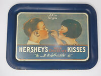 VINTAGE 1974 HERSHEY'S KISSES MILK CHOCOLATE TIN METAL SERVING TRAY