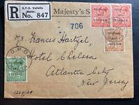 1923 Valletta Malta Registered OHMS cover To Atlantic City NJ USA