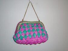 Anthropologie Serpui Marie Crocheted Menorca Clutch S/O $288 Pink & Green Straw