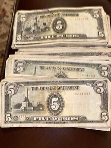 40 Japanese Government Paper Money WWII Era Phillipines 5 peso note