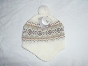 Carter's Little Collection White & Brown Printed Skully Hat 0-3M New Nwt