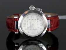Pasha de Cartier 18K White Gold Diamond 2528 Ladies Wrist Watch 32mm Leather Red