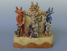 """Old vintage Mexican Ocumicho ceramic devil crucifixion by QUIROZ 10 3/4"""" x 10"""""""