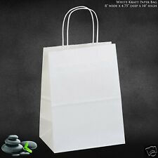 "50 Pcs 8""x10"" White Kraft Paper Bag Shopping Party Holiday Gift Bag with Handles"