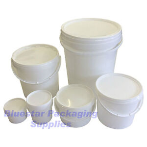 Plastic Buckets Tubs Containers with Tamper Evident Lids 0.5L 1L 3L 5L 10L 25L