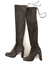 Stuart Weitzman Women Shoes Size 12M New Grey Suede Over The Knee Boots