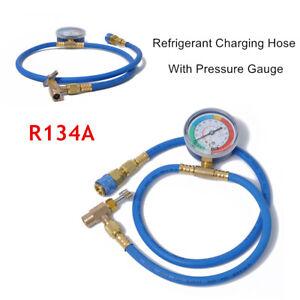AC R134A Refrigerant Charging Hose w/Gauge Refrigerant Adding Water Valve Opener