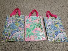 Lilly Pulitzer Pink Ribbon Handle Set of 3 Paper Shopping Bags Empty Craft Bags