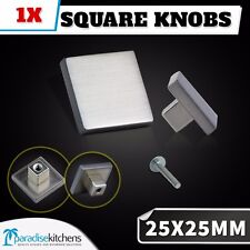 1x 25x25 Brushed Stainless Steel LOOK Square Knobs Cabinet Handles Kitchen Door