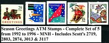 GREETINGS ATM Stamps Complete Set 1992 - 1996 Scott's 2719 2803 2874 3013 & 3117