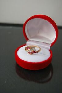 """14 Ct Gold Ruby & Diamond """"Lovers Knot"""" Dress Ring"""