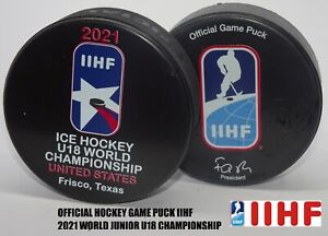 ORIGINAL & OFFICIAL HOCKEY GAME PUCK IIHF world championship U18 JUNIOR 2021 USA