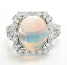 5.19 Ct Natural Ethiopian Opal and Diamonds in 14K Solid White Gold Women Ring