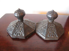 Pair of Antique Victorian Era Cast Iron Paperweights w/ Floral Decoration