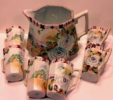 LQQKAntique Nippon Lemonade Set Pitcher & 6 Cups Beautiful RARE full scene Te-Oh