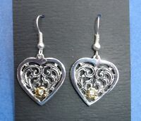 Western Cowgirl Jewelry Antique Silver Heart W/Crystal French Wire Earrings