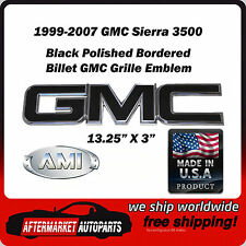 1999-2007 GMC Sierra 3500 Black Polished Border Front Grille Emblem AMI 96500KP