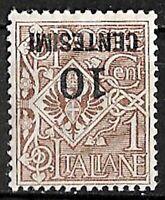 Varietà - 1923-27 - cent 10 su cent 1 - sassone 137a - soprastampa capovolta