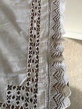 Vintage Lace Edge Linen Table Cloth White