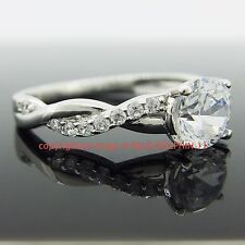 Genuine Real Solid 9k White Gold Engagement Wedding Ring Lab Diamonds Jewelery