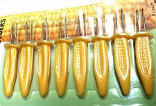 8 Corn On The Cob Holders Stainless Steel Skewers Sweetcorn BBQ Prongs Forks uk