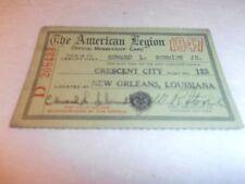 VINTAGE OLD 1947 AMERICAN LEGION  MEMBERSHIP CARD NEW ORLEANS LA.
