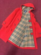 VTG BURBERRY LONDON DUFFLE JACKET RED COAT TRENCH NOVA PLAID VINTAGE