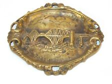 Large Vintage Heavy Cast Brass Ashtray From The Forth Rail Bridge In Scotland