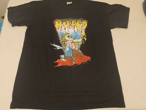 """Vintage 1991 Ultra RARE Death Metal Punk The Band """"RIPPED"""" T-Shirt Double Sided"""