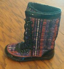 Coach Peggey C Signature Logo Berry shearling plaid winter boots pink purple 7 B