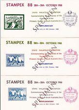 STAMPEX Exhibition Adelaide South Australia 1988 set 5 Bergen tickets SPECIMEN
