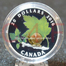 2016 Venetian Murano Glass Little Creatures Snail $20 Pure Silver Coin Canada