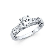 Solitaire Cz Wedding Engagement Ring Band Real 14k White Gold Baguette Round